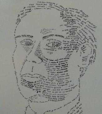 Caligrama de Irene Martínez Carvalho que representa al poeta Antonio Machado con uno de sus poemas más conocidos.