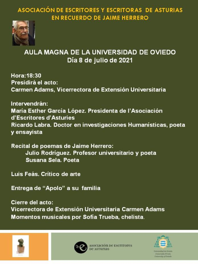 Cartel anunciador homenaje a Jaime Herrero